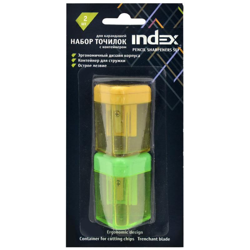 Набор точилок пластмассовых, одинарных, с контейнером, цвет ассорти, 2 шт./блистер ISH310B/2 набор пластмассовых стеков fimo 4 шт