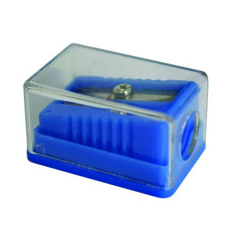 Точилка пластмассовая ТЕХНО, с прозр. мини-контейнером, картон. цвет. коробка FSH130
