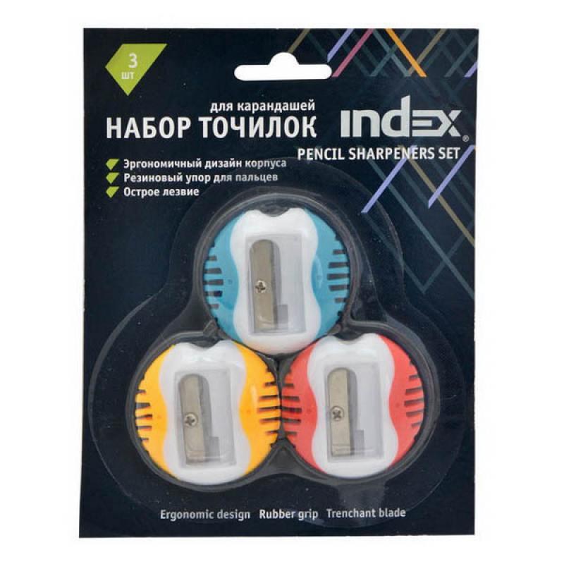 Набор точилок пластмассовых, одинарных, цвет ассорти, 3 шт./блистер ISH430B/3 molecule professional резинка браслет блистер 3 шт