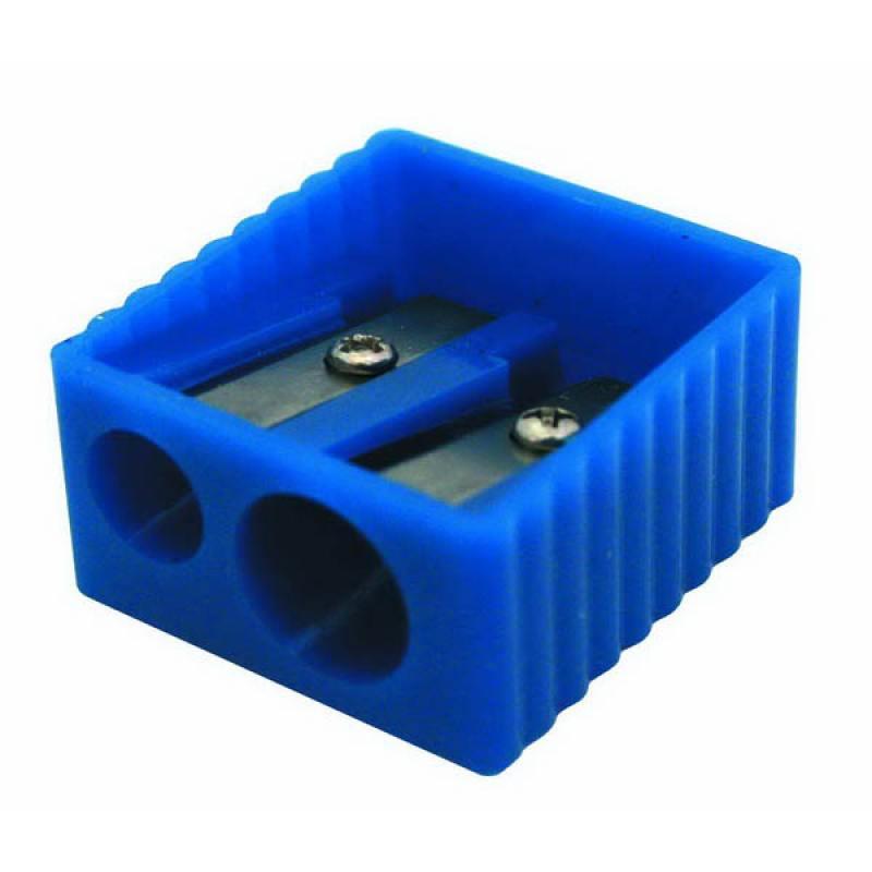 Точилка пластмассовая, двойная, прямоугольная форма, боковое рифление, 4 цв. ассорти ISH002 точилка пластмассовая клиновидная форма 104 01 999
