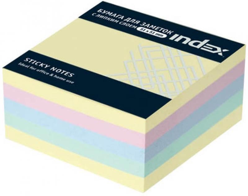 Бумага с липким слоем Index 250 листов 51х51 мм многоцветный МИНИ-КУБ I436801 бумага с липким слоем index 160 листов 12х44 мм многоцветный