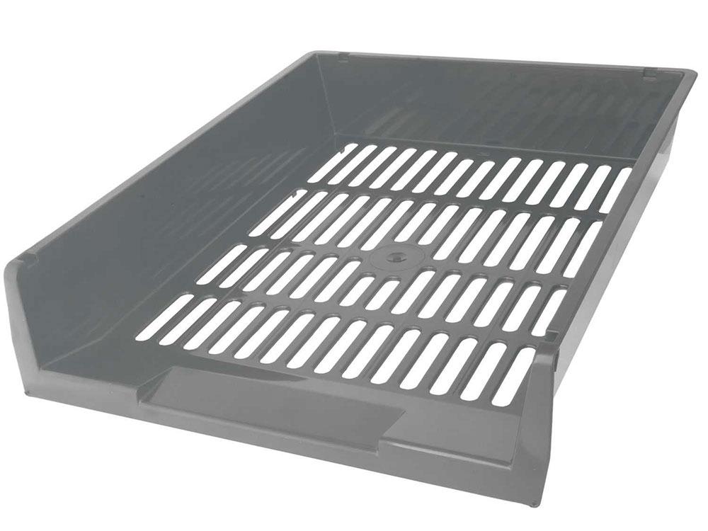 Лоток для бумаг горизонтальный ЛИДЕР, серый IT805Gy цена