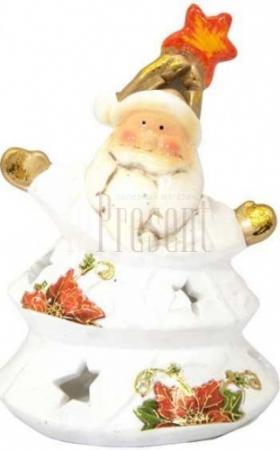 Подсвечник ДЕД МОРОЗ с цветком, полирезин, 11х13 см, 1 вид подсвечник winter wings снеговик с цветком 11х7х11 см n160491