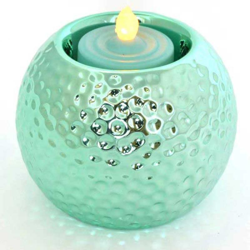 Подсвечник ШАР со свечой LED, 1 шт, 8*7,5 см, керамика, пластик, бирюзовый подсвечник sima land удачи со свечой 5 см