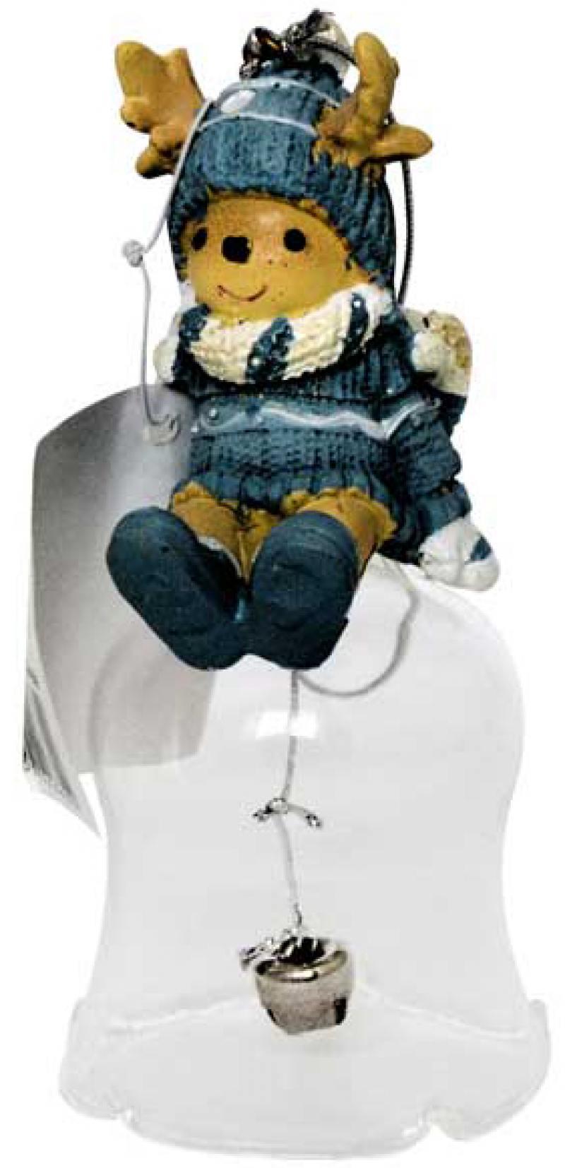 Украшение декоративное КОЛОКОЛЬЧИК С ЛОСЕНКОМ, 12*6 см, полирезин