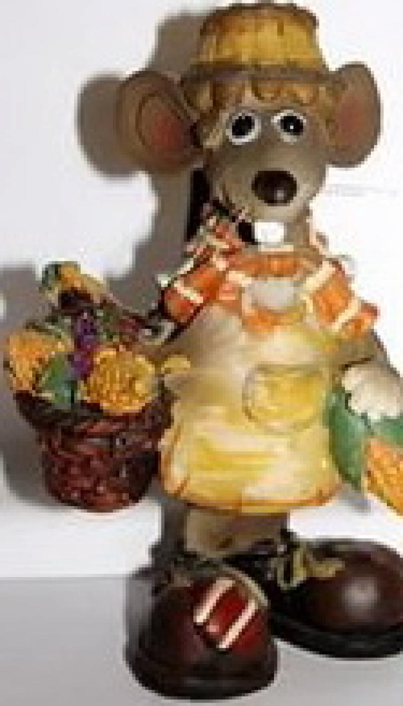 Сувенир МЫШКА с корзиной овощей , 10х6х14 см, 1 в. сувенир мкт оберег для кошелька кошельковая мышка