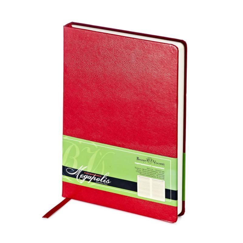 Ежедневник MEGAPOLIS, красный, лин., недатиров., бежевая бумага, ляссе, ф. А5 блокноты bruno visconti блокнот а5 megapolis flex