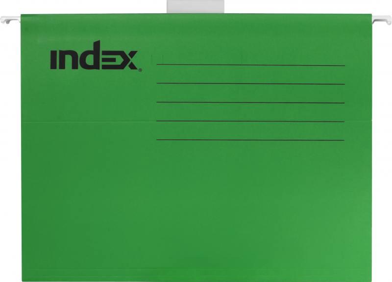 Подвесная папка INDEX, ф. А4, зелёная, с табулятором ISF01/A4/GN