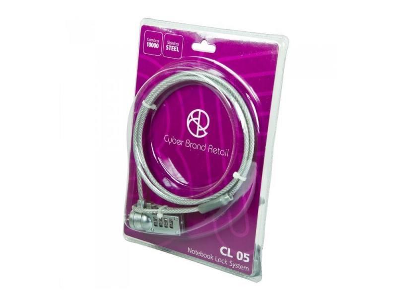Тросик для ноутбука CBR CL-05, Kensington Lock, кодовый, 1м, блистер, RTL