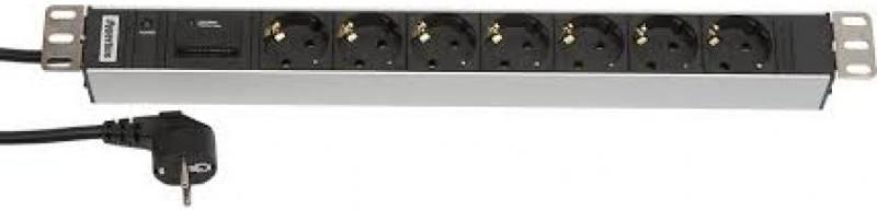 Блок розеток Hyperline SHT19-7SH-IF-2.5EU 7 розеток 2.5 черный серебристый блок розеток hyperline sht19 7sh if 2 5eu 7 розеток 2 5 черный серебристый