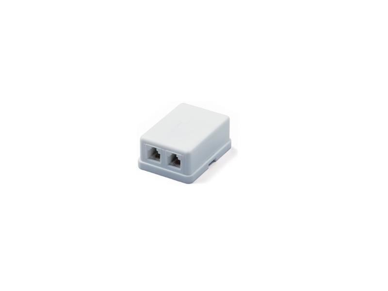 Розетка телефонная Hyperline SB-2-6P4C-C2-WH RJ-12 (6P4C) двойная внешняя белый