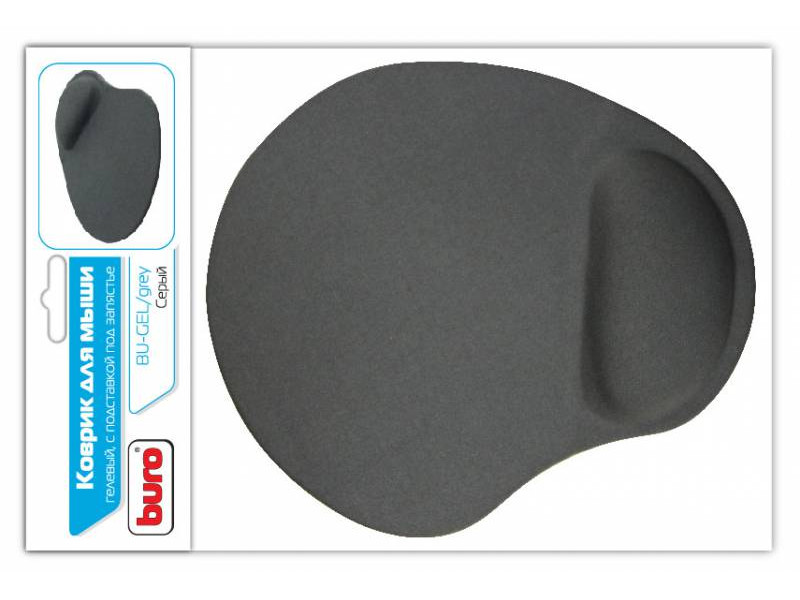 цена Коврик для мыши Buro BU-GEL гелевый серый
