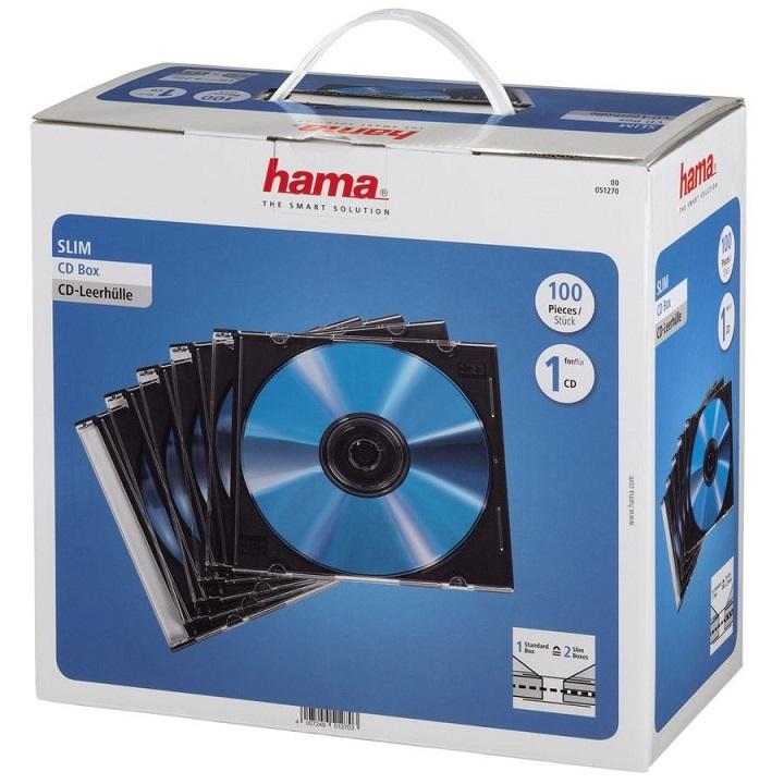 Коробка HAMA для 100 CD/DVD прозрачный 100шт H-51270 коробка hama h 51163 5шт прозрачный для 5 дисков [00051163]