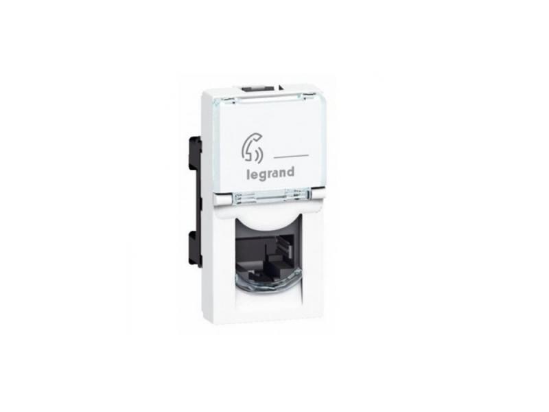 Розетка Legrand Mosaic RJ-11 телефонная 4 контакта 1 модуль белый 78730 телефонная розетка abb bjb basic 55 шато 1 разъем цвет черный