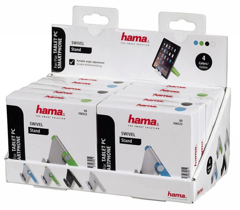 Держатель Hama Swivel 00108323 для телефона черный/голубой/зеленый/белый держатель hama bike holder для телефона магнитный черный 00178251