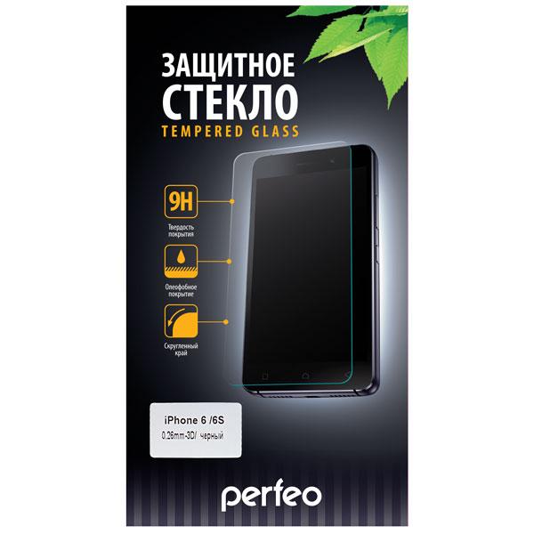 Защитное стекло с силиконовыми краями Perfeo для черного iPhone 6/6S глянцевое PF-TG3D-IPH6-BLK аксессуар защитное стекло snoogy 3d glass для apple iphone 6 6s black sn tg 3d iph6 6s blk