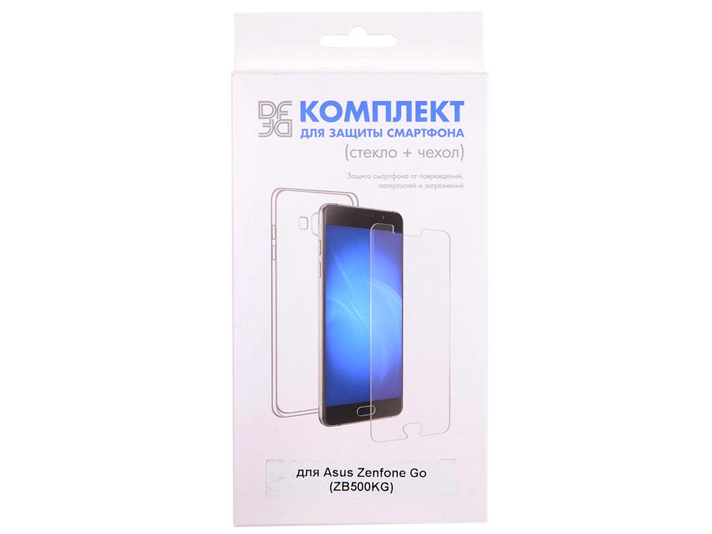 Закаленное стекло + чехол для смартфона Asus Zenfone Go (ZB500KG) DF aKit-01 asus zenfone go zb500kg black