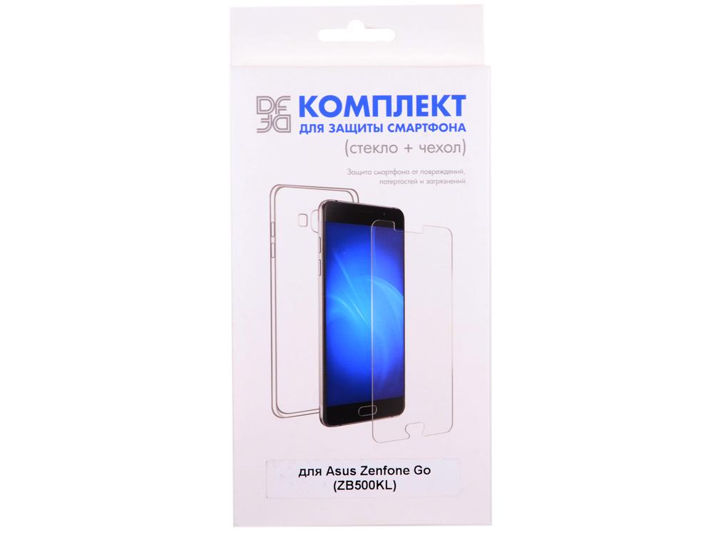Закаленное стекло + чехол для смартфона Asus Zenfone Go (ZB500KL) DF aKit-02 чехол для смартфона asus для zenfone go zc500tg pf 01 желтый 90xb00ra bsl3q0 90xb00ra bsl3q0