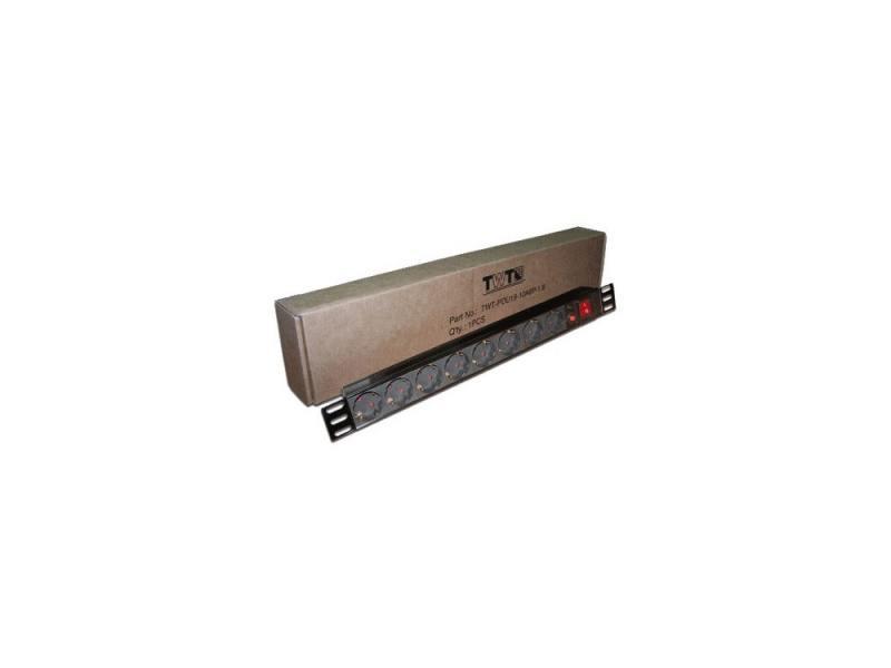 Блок розеток Lanmaster TWT-PDU19-10A8P 8 розеток черный блок распределения питания pdu ibm express 0u 24 c13 32a pdu 90y4584 90y4584