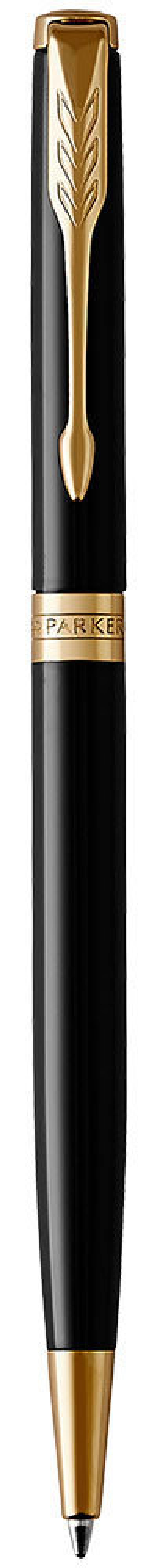 Шариковая ручка поворотная Parker Sonnet Core K430 Slim LaqBlack GT черный M 1931498 шариковая ручка поворотная parker sonnet core k527 stainless steel gt черный m 1931507