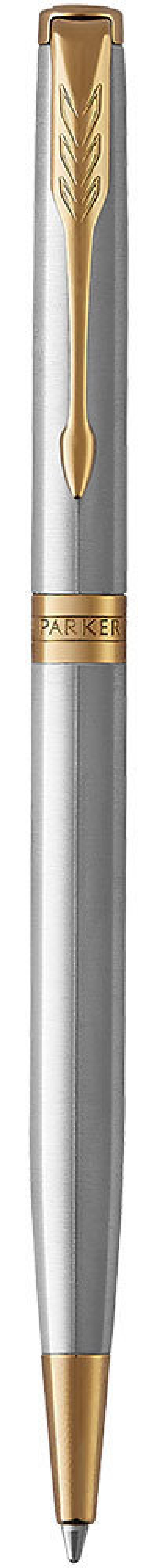 Шариковая ручка поворотная Parker Sonnet Core K427 Slim Stainless Steel GT черный M 1931508 шариковая ручка поворотная parker sonnet core k527 stainless steel gt черный m 1931507
