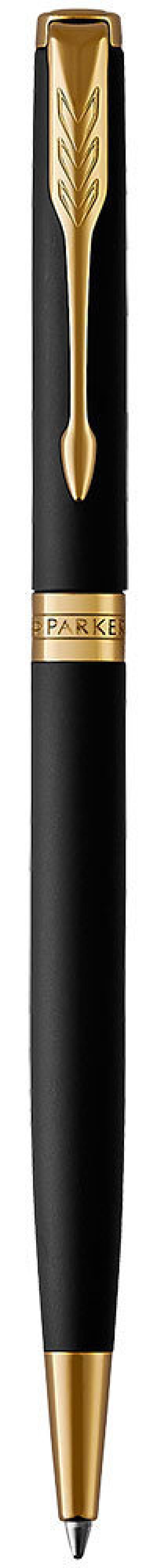 Шариковая ручка поворотная Parker Sonnet Core K428 Slim Matte Black GT черный M 1931520 шариковая ручка поворотная parker sonnet core k527 stainless steel gt черный m 1931507