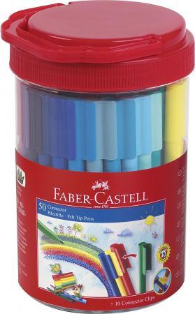Набор фломастеров Faber-Castell Connector 50цв + 10 клипов пластиковая банка 155550 faber pareo