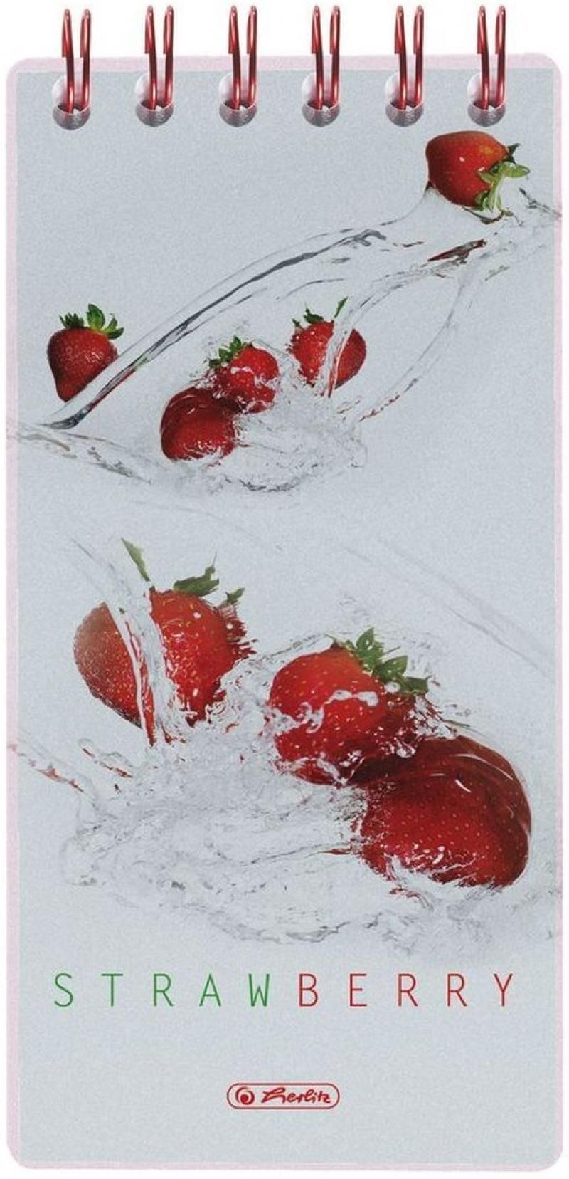 Блокнот Herlitz Fresh Fruit Strawberry 8.5x17 см 100 листов 11306248 11306248 блокнот на спирали herlitz fresh fruit лайм клетка а6 100 листов