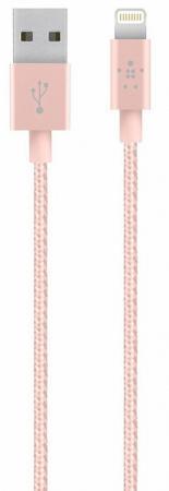 Кабель Belkin F8J144bt04-C00 Lightning to USB 1.2m розовый кабель usb type c belkin 3 1 usb a to usb c f2cu029bt1m blk
