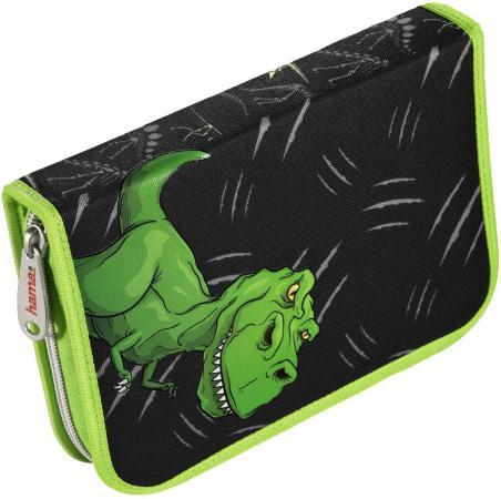 Пенал Hama Dino черный/зеленый 139124 hama hama ранец для первоклассника baggymax trolley green dino