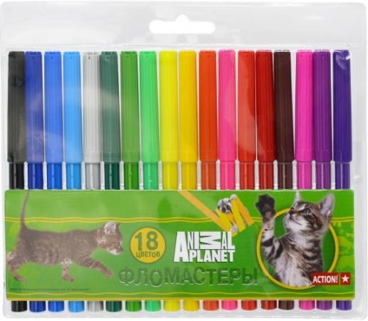 Набор фломастеров Action! ANIMAL PLANET, 18 цветов, PVC c е/подвесом AP-AWP129-18 набор фломастеров полоска 18 цветов 641130