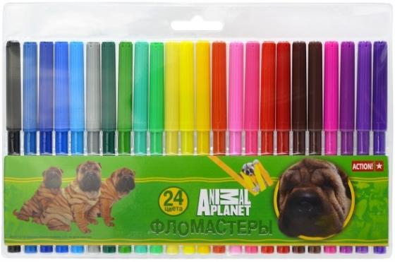 Набор фломастеров Action! ANIMAL PLANET, 24 цветов, PVC c е/подвесом AP-AWP129-24 action набор фломастеров action animal planet 18 цветов