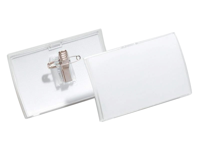Бейдж Durable Convex горизонтальный 75x40мм клип булавка 25шт 812419