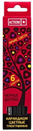 Набор цветных карандашей Action! 4607692490544 6 шт 160 мм набор цветных карандашей maped color peps 12 шт 683212 в тубусе подставке
