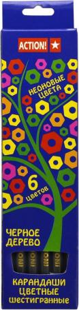 Набор цветных карандашей Action! 4607692490575 6 шт 160 мм action набор цветных карандашей 6 цветов