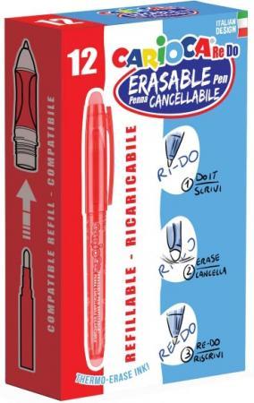 Гелевая ручка стираемая CARIOCA RE-DO, 12 шт., красная, в картонной коробке 43238/03 xin sheng ручка гелевая красная