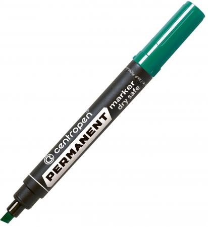 Маркер перманентный Centropen зеленый, клиновидный наконечник, 2-5 мм 8516/З маркер для доски centropen клиновидный наконечник оранжевый 8569 1о
