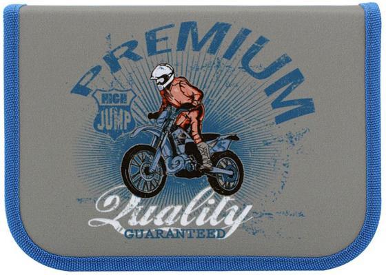 Пенал на молнии ACTION by TIGER High Jump, Мотоциклист, 1 отд., 16 предметов, серый, для мальчиков пенал на молнии action by tiger драконы 1 отделение 16 предметов светло синий для мальчиков