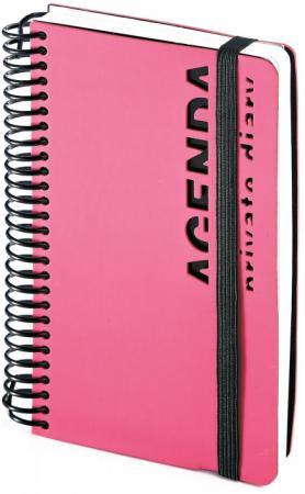 Ежедневник недатированный Bruno Visconti AGENDA, на спирали, ф.А6, бел. бум., на резинке , лин., роз
