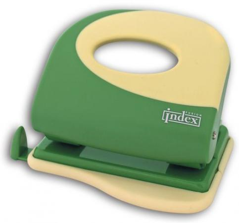 Дырокол Index Fusion 20 листов пластиковый корпус, зеленый/желтый IFP705GN/YL цена и фото