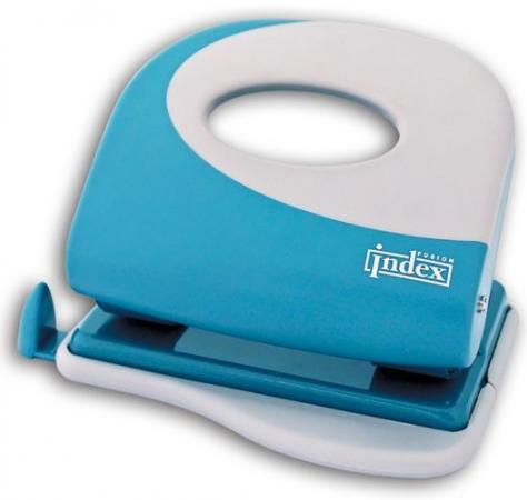 Дырокол Index Fusion 20 листов пластиковый корпус, серо-голубой/белый IFP705BU/WH цена и фото
