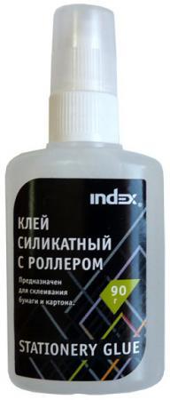 Клей силикатный INDEX 90 гр, с роллером ISGR90 канцелярия index клей силикатный 40 мл аппликатор