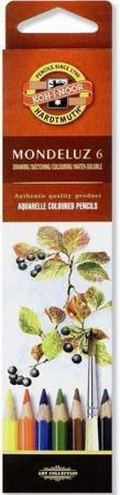 Набор карандашей акварельных Koh-i-Noor MONDELUZ, 6 цв.,картонная упаковка с европодвесом