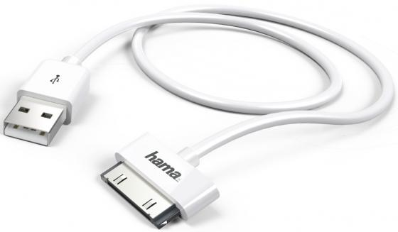 Кабель Hama H-173642 USB-30-pin белый 1м кабель 30 pin 1м hama h 173642 круглый