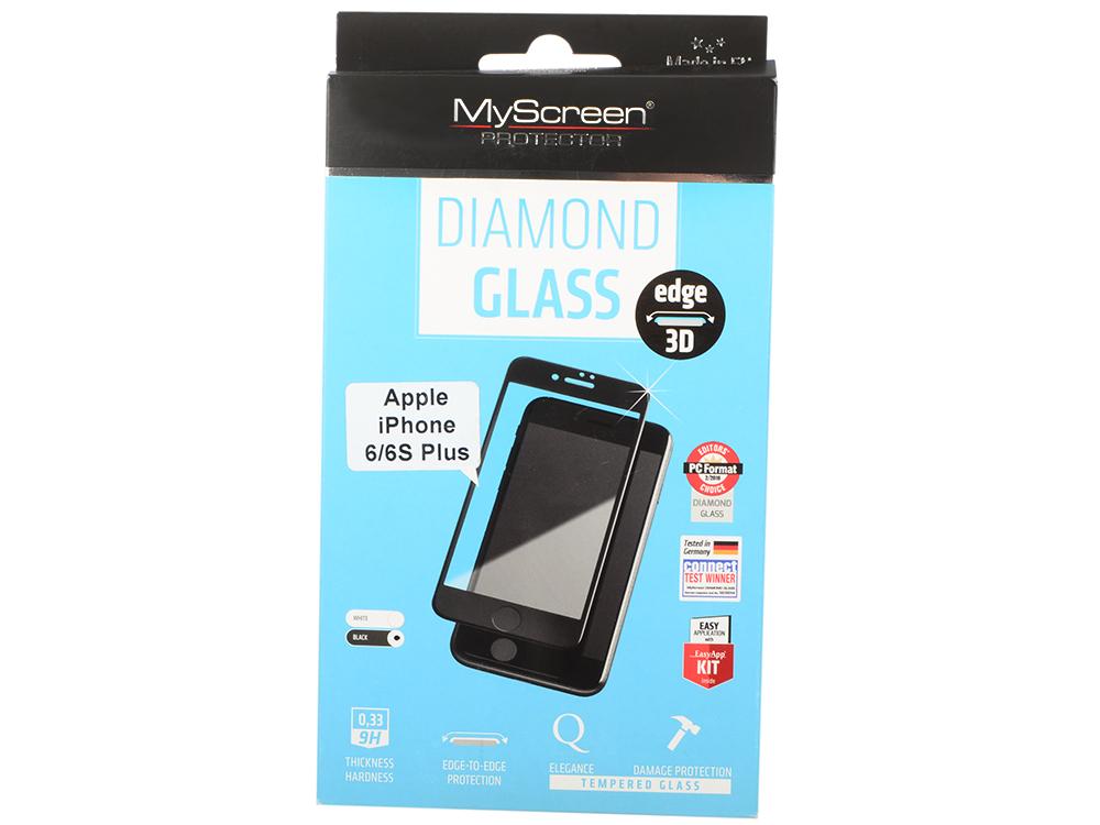 пленка защитная Lamel 3D закаленное  стекло MyScreen DIAMOND Glass EA Kit Black iPhone 6/6S Plus