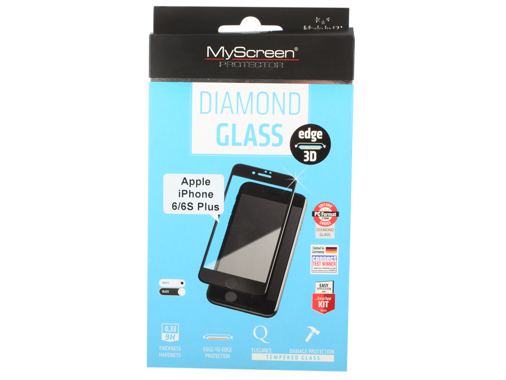 пленка защитная Lamel 3D закаленное  стекло MyScreen DIAMOND Glass EA Kit White iPhone 6/6S Plus