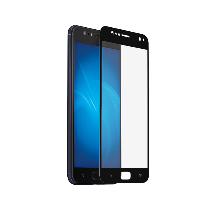 Закаленное стекло с цветной рамкой (fullscreen) для Asus Zenfone 4 Selfie (ZD553KL) DF aColor-09 (black) ainy aa ab892 защитная пленка для asus zenfone selfie матовая