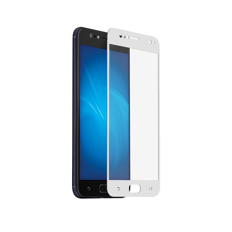 Закаленное стекло с цветной рамкой (fullscreen) для Asus Zenfone 4 Selfie (ZD553KL) DF aColor-09 (white) ainy aa ab892 защитная пленка для asus zenfone selfie матовая