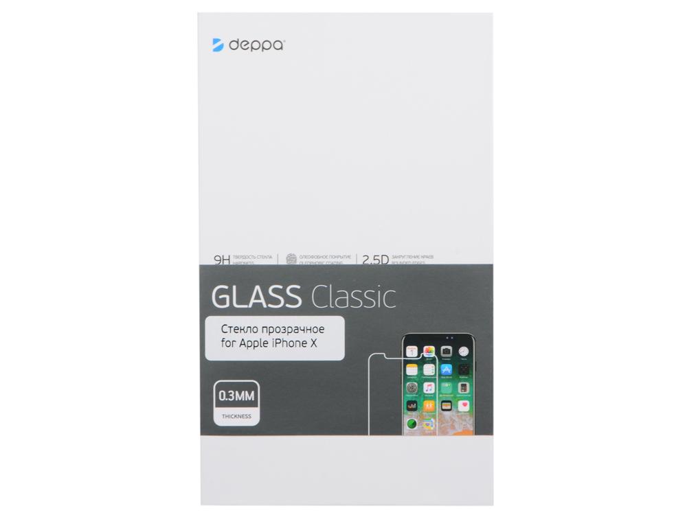 Защитная пленка Deppa 62395 Classic для Apple iPhone X, 0.3 мм, прозрачный bonks apple iphone xphone phone apple 10 x3d full cover защитная пленка i10 x взрывозащищенная задняя пленка мягкая пленка темно серый