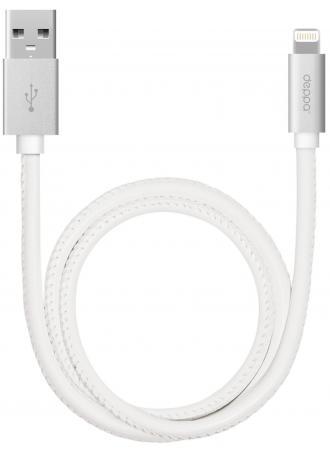 Кабель Deppa Leather USB - 8-pin для Apple алюминий/экокожа MFI 1.2м белый 72267 deppa набор deppa азу сзу 1а дата кабель 8 pin для apple ultra mfi white